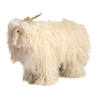 1960s Vintage Lambswool Mountain Goat Footstool For Sale