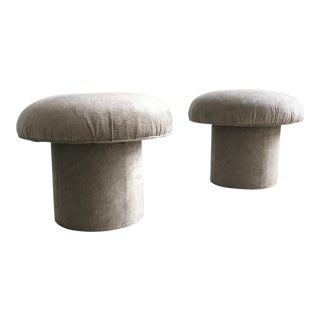 1980's Marge Carson Mushroom Stools - A Pair For Sale