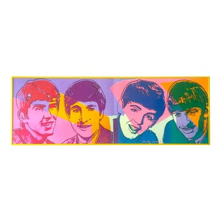 "Andy Warhol Rare Vintage 1980 1st Edtn Collector's Lithograph Print "" the Beatles "" Framed Pop Art Poster For Sale"