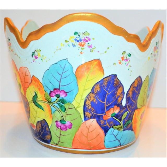Ceramic 1970s Vintage Mottahedeh Tobacco Leaf Monteith Cachepot For Sale - Image 7 of 13