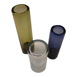 1960s Mid-Century Modern Per Lutken Holmegaard Cylinder Vases - Set of 3