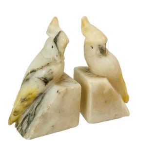 Vintage Alabaster Bird Bookends, a Pair For Sale