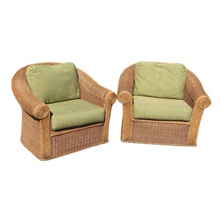 Henry Link Vintage Rattan Club Chairs - Pair For Sale