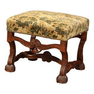 19th Century French Louis XIII Carved Walnut Stool from the Perigord