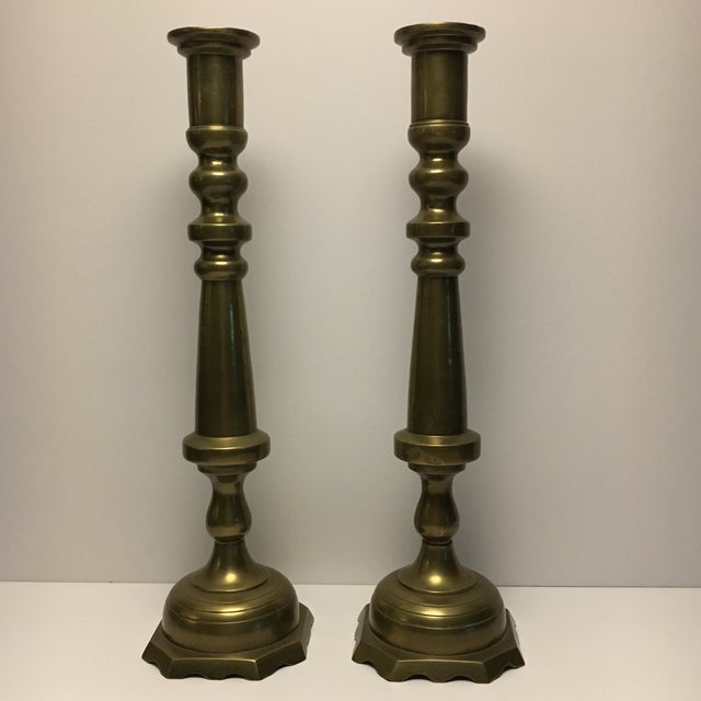 Large Floor Solid Brass Candleholders - a Pair - Image 2 of 9