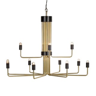 Modern Le Marais 12 Light Brass Chandelier For Sale