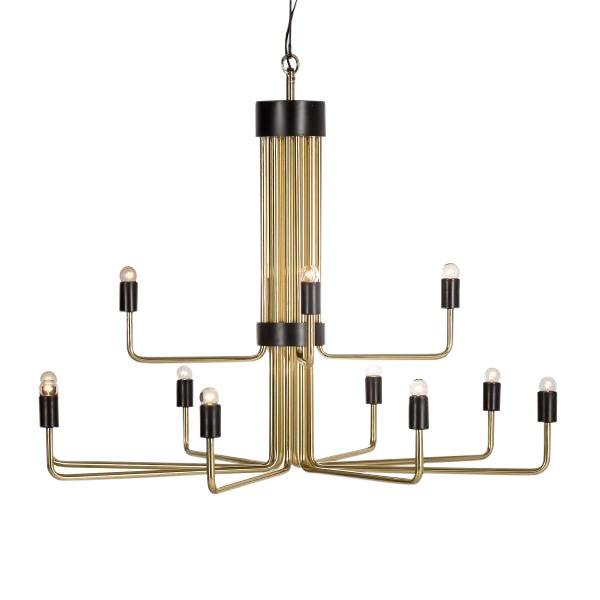 Modern Le Marais 12 Light Brass Chandelier For Sale