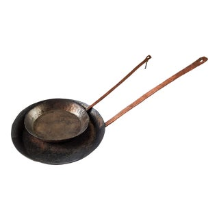 Mid 20th Century Hand Forged Copper Pans - a Pair For Sale