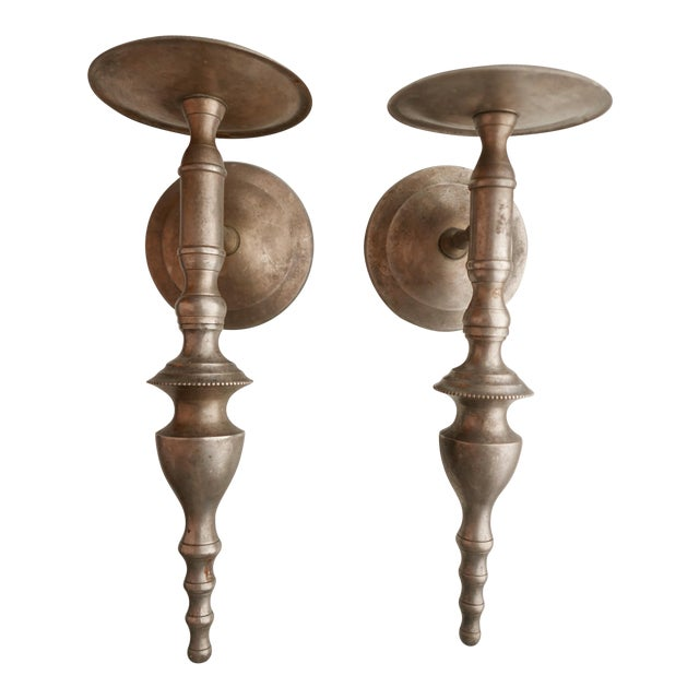Pewter Wall Candle Sconces - a Pair For Sale