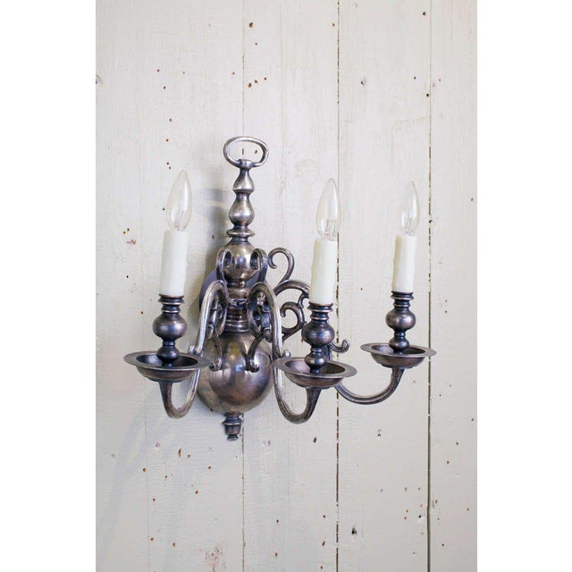 Traditional Dutch-Style Nickel on Brass Sconce with Three Arms, circa 1920 For Sale - Image 3 of 3