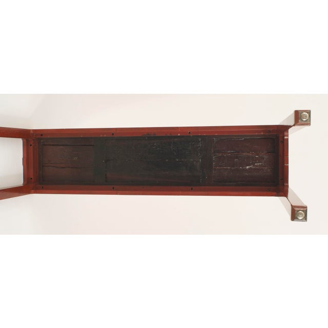 Brown Pair of Asian Chinese Style Red Lacquer Chinoiserie Decorated Altar Console Table For Sale - Image 8 of 10