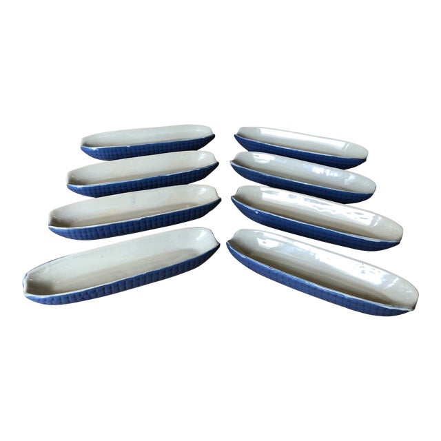 1970s Blue Ceramic Corn Dishes - Set of 8 For Sale