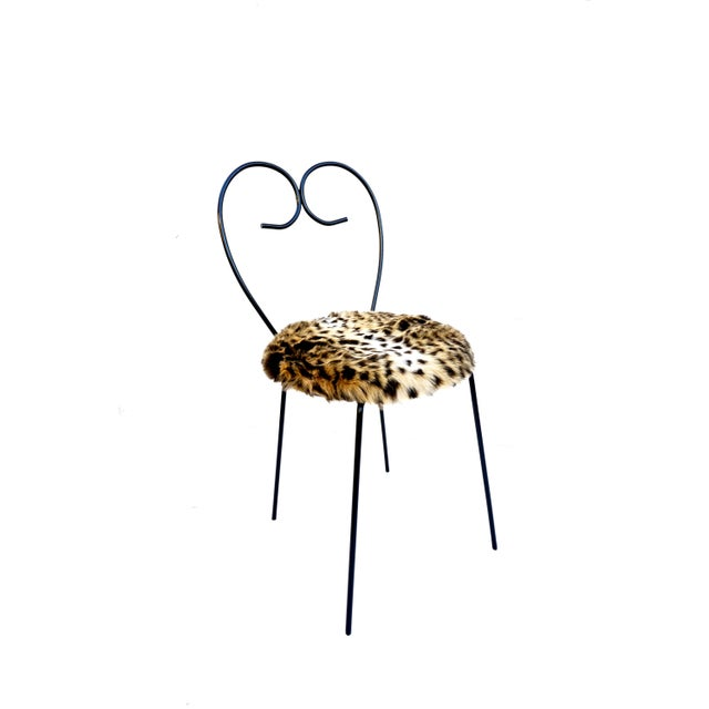 Mid-Century Heart Shaped Metal & Leopard Faux Fur Vanity Chair - Image 11 of 11