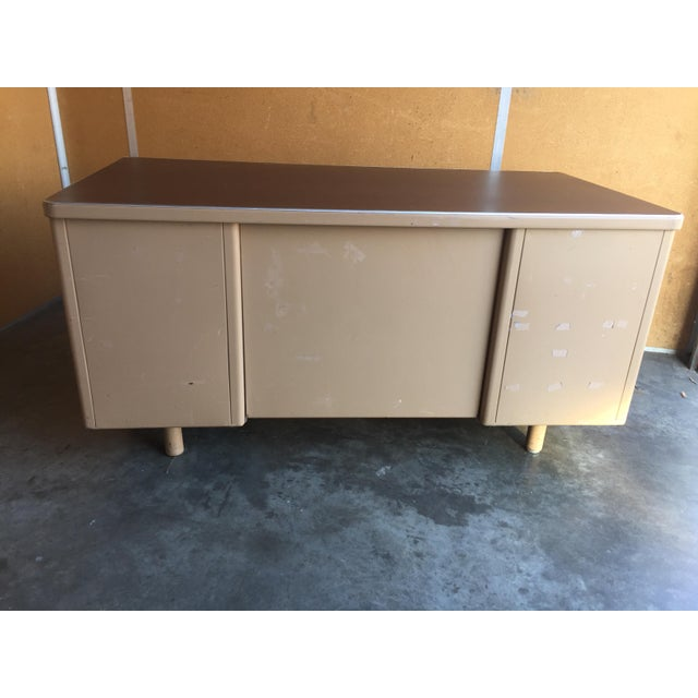 American Classic Vintage Tanker Desk with Post Pole Legs For Sale - Image 3 of 8