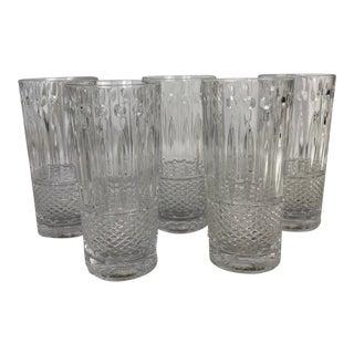 Hollywood Regency Godinger Shannon Crystal Highball Glasses - Set of 5 For Sale