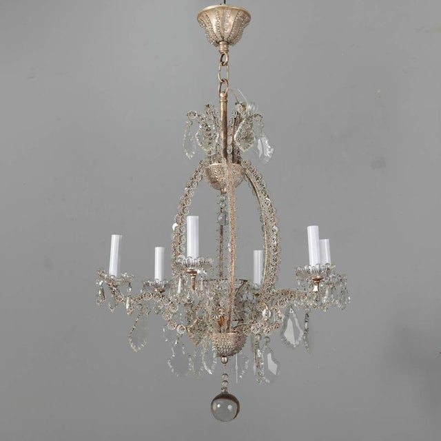 Italian Chandeliers With Round Beads and Original Beaded Canopies - a Pair For Sale - Image 11 of 12