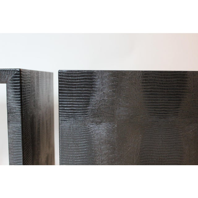 Early 21st Century Modern Embossed Leather Greek-Key End Tables - a Pair For Sale - Image 5 of 7