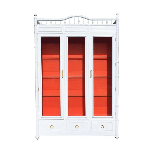 White and Orange Faux Bamboo China Cabinet - Image 1 of 6