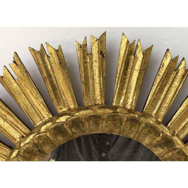 Mid 20th Century French Gilt Starburst or Sunburst Mirror (Diameter 21) For Sale - Image 5 of 9