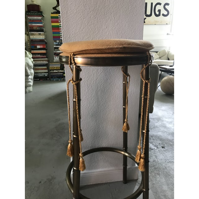 Regency Faux Bamboo Brass Barstool With Tassels - Image 2 of 5