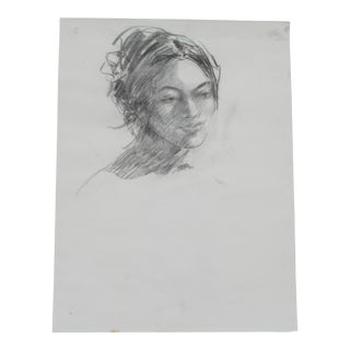 Portrait of a Woman in Charcoal Pencil For Sale