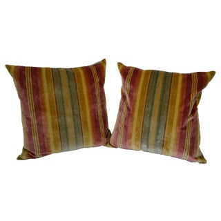 "Scalamandre Silk Velvet Multi-Color Stripe 21"" Pillows - a Pair For Sale"