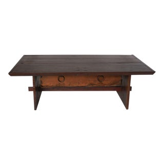 Rustic Coffee Table with Leather Bottom Drawer For Sale