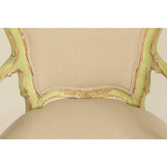 Paint Late 19th Century Antique Louis XV Style Painted Armchairs- A Pair For Sale - Image 7 of 13