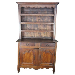 18th Century Antique French Country Rustic Oak Cupboard For Sale