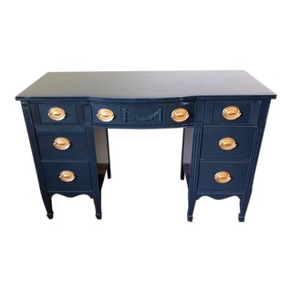 1950s Federal Duncan Phyfe Blue Mahogany Tanker Desk For Sale
