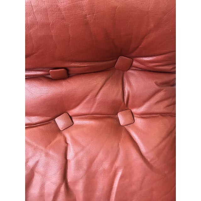 Metal 1960s Mid Century Modern Red Leather Swivel Chair For Sale - Image 7 of 9