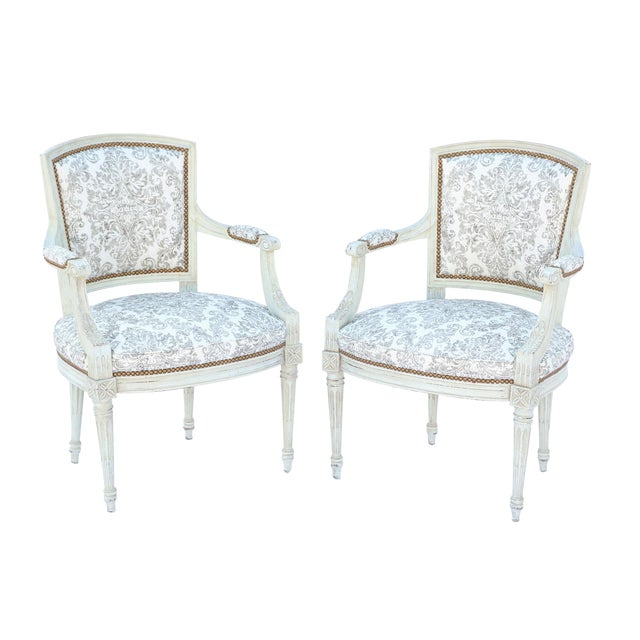 Pair of Painted Italian Fauteuils For Sale
