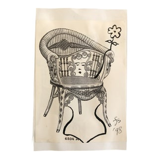 1998 Lady in a Victorian Wicker Chair Drawing For Sale