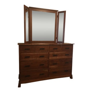 Urban Furniture High Dresser With Tri-Fold Mirror For Sale