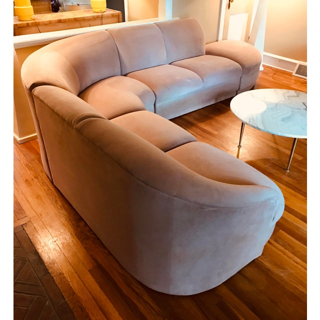 Blush Serpentine Sectional Sofa by Vladimir Kagan for Weiman For Sale - Image 10 of 12