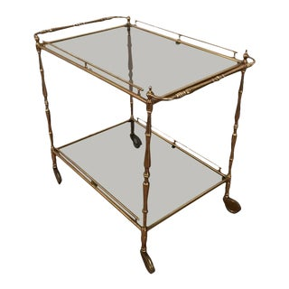1960s French Brass and Glass Rolling Cart