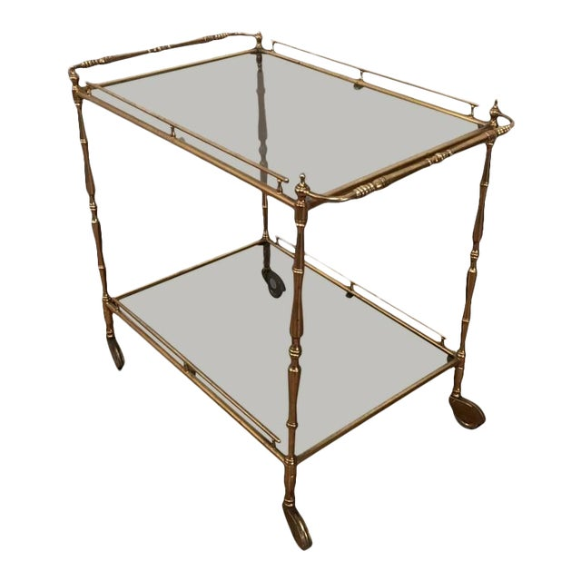 1960s French Brass and Glass Rolling Cart For Sale