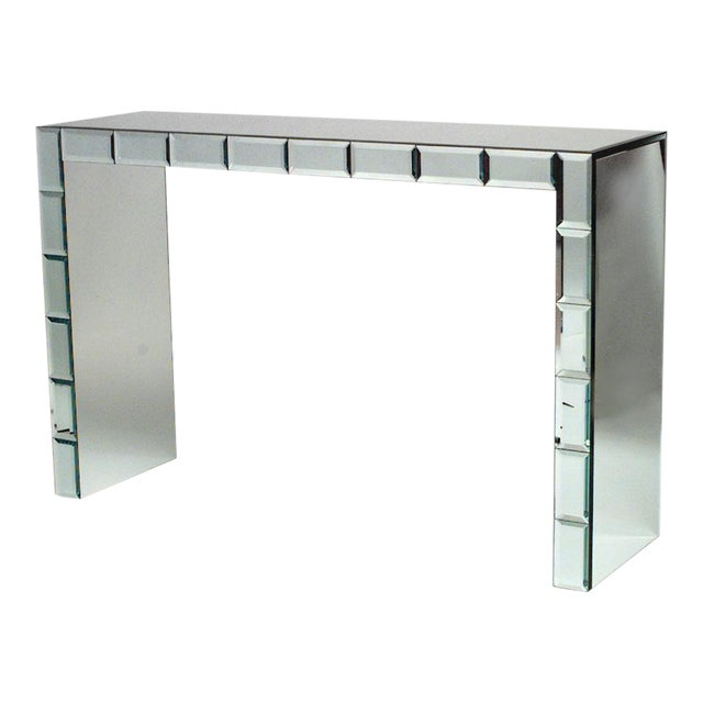French Art Modern Mirrored Console Table For Sale