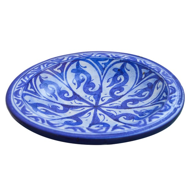 Moroccan Moorish-Patterned Ceramic Plate For Sale - Image 3 of 7