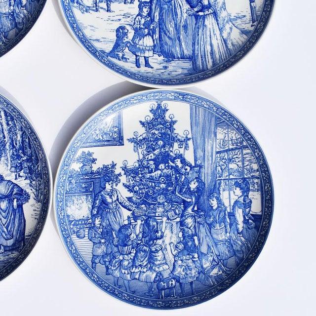 Spode Spode Georgian Blue and White Ceramic Christmas Plates - Set of 4 For Sale - Image 4 of 12