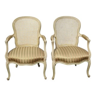 Pair Vintage French Provincial Country Cane Gold Stripped Silk Accent Chairs For Sale