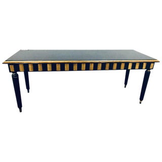 Ebonized and Parcel Gilt Hollywood Regency Jansen Style Wood Top Coffee Table For Sale
