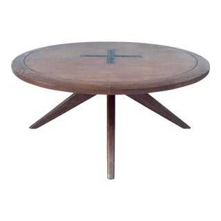 Mid-Century Modern Oak Coffee Table With Cross Iron Center Detail For Sale