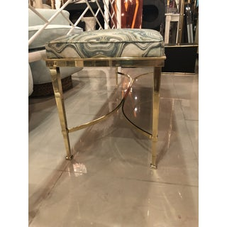 Vintage Hollywood Regency Agate Upholstery Polished Brass Bench Preview