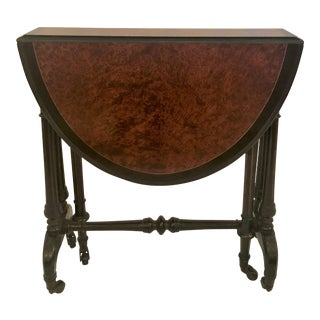 Antique English Briarwood Miniature Drop-Leaf Table, Circa 1880. For Sale