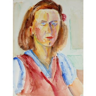 Jennings Tofel Expressionist Female Portrait in Watercolor, Mid 20th Century For Sale