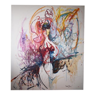 Original Lucho Rossi Large-Scale Abstract Expressionist Female Portrait Acrylic on Canvas Painting For Sale