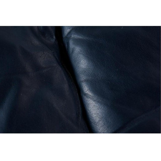 Leather Dark Blue Italian Leather Sofa in the Manner of De Sede For Sale - Image 7 of 9