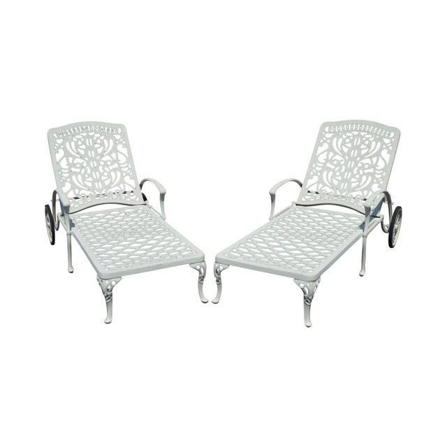 Quality Pair Cast Aluminum Patio Chaise Lounges For Sale - Image 13 of 13