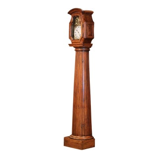 18th Century French Carved Walnut Column Grandfather Clock From Lyon For Sale